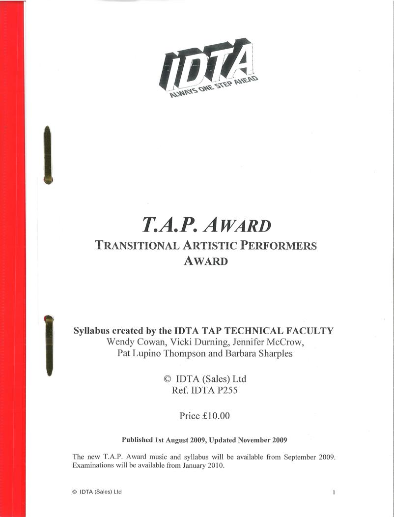 T.A.P. AWARD (TRANSITIONAL ARTISTIC PERFORMERS AWARD) -