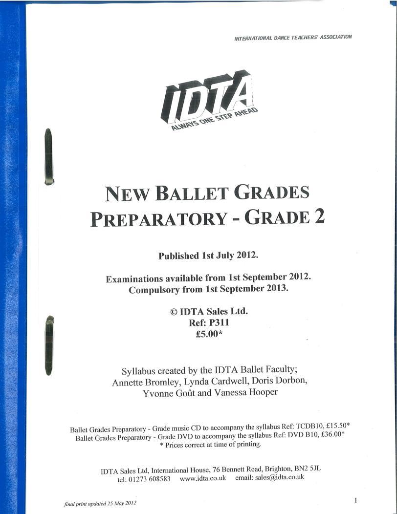 BALLET GRADES PREPARATORY - GRADE 2 SYLLABUS NOTES