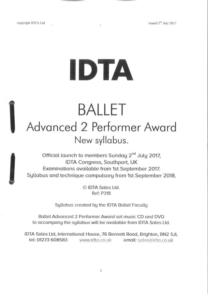 BALLET GRADES - ADVANCED 2 PERFORMER AWARD NEW SYLLABUS NOTES