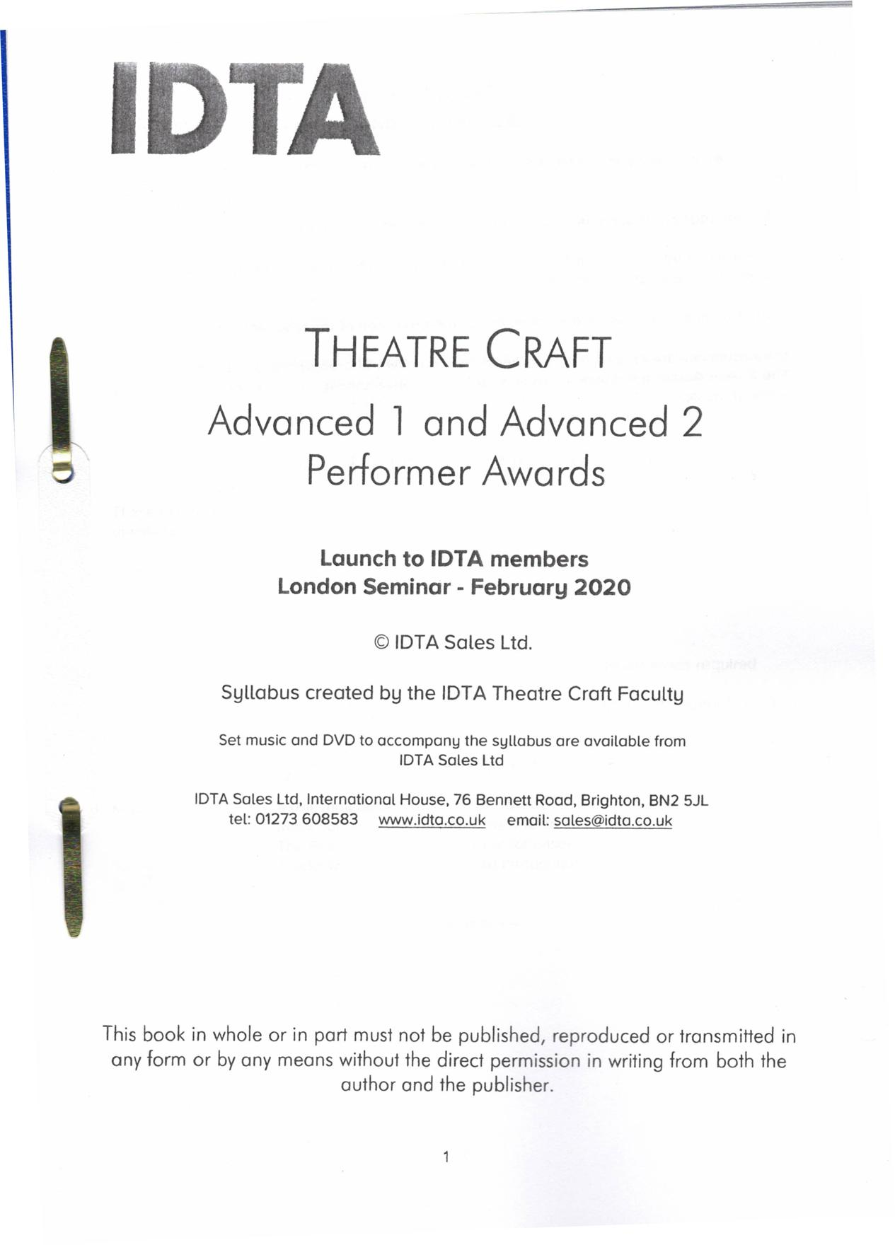 THEATRE CRAFT ADVANCED 1 & 2 PERFORMERS AWARDS
