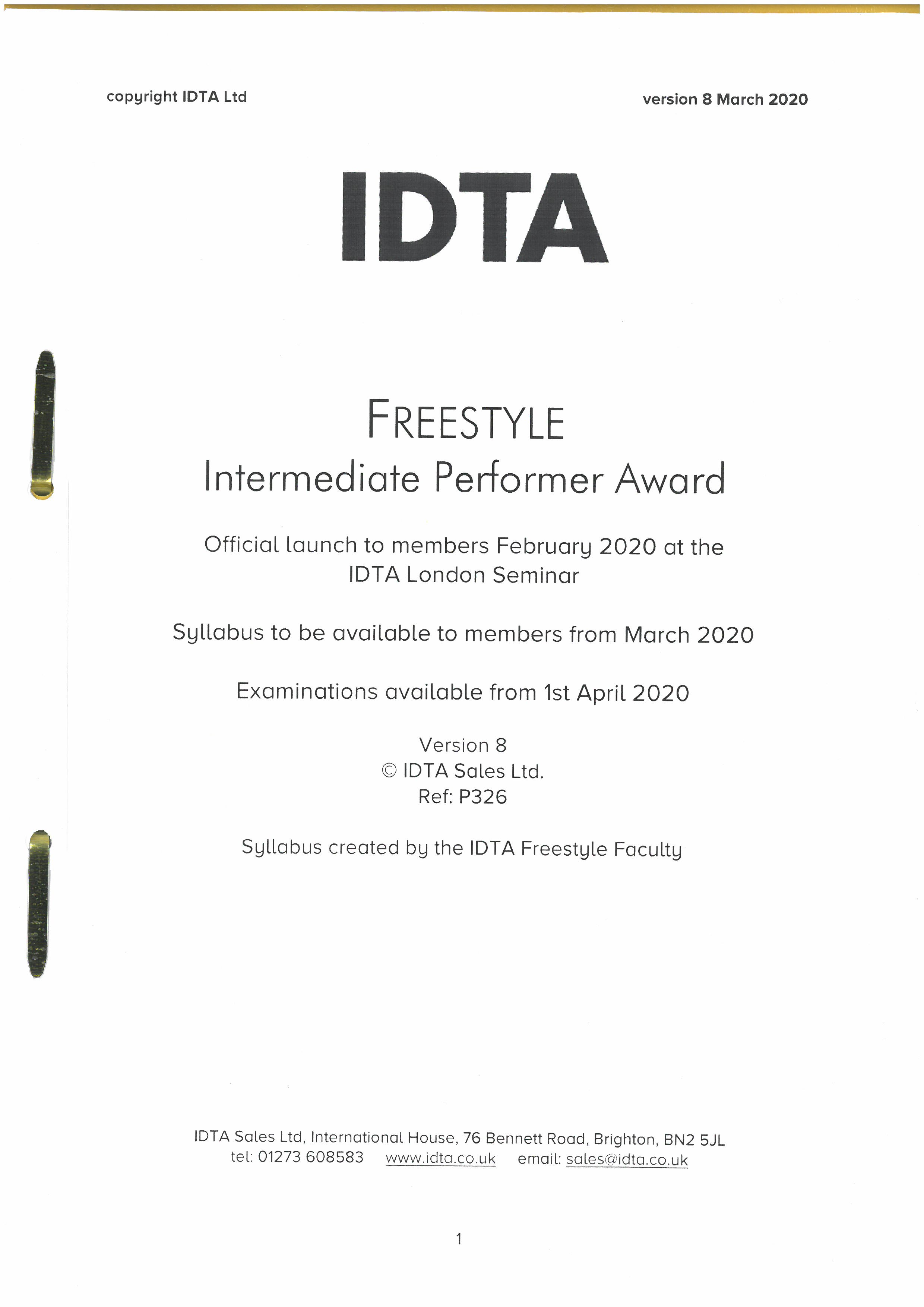 Freestyle Intermediate Performer Award