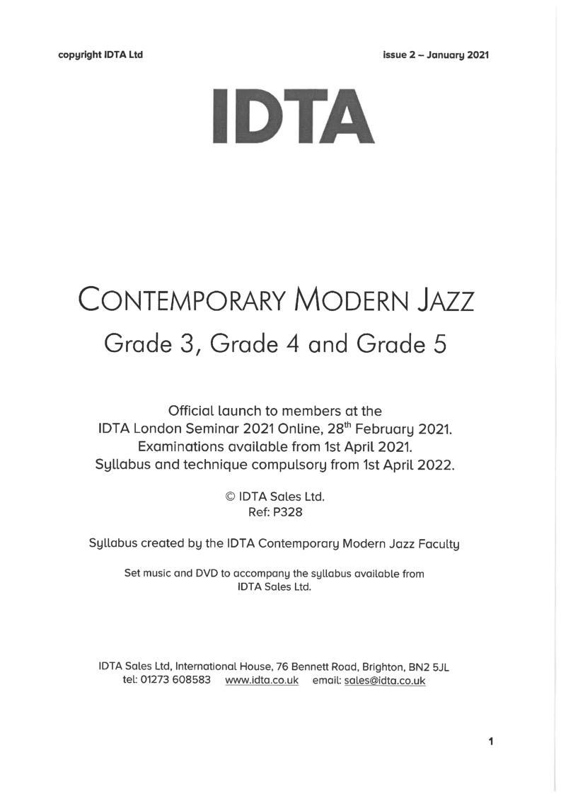 CONTEMPORARY MODERN JAZZ GRADES 3-5 SYLLABUS NOTES
