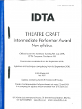 THEATRE CRAFT INTERMEDIATE PERFORMER AWARD